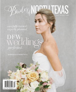 A bride in a white gown holding a bouquet on the cover of the Brides of North Texas magazine in a gray background