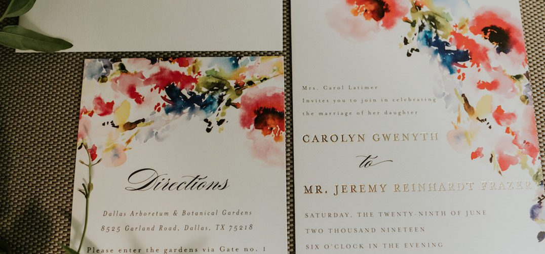 Wedding invitation suite with a colorful watercolor motif