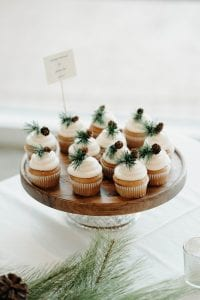 Cupcakes with white frosting on top mini pinecones and green pine sprigs on a brown cake stand