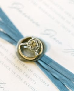 wedding rings set on top of the invitation suite
